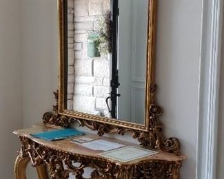 Louis XV style gilded console table with mirror and Certificate of Authenticity
