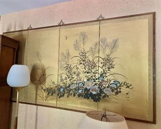 """$275 AS IS - Floral  gold screen  - tears on the left side 38""""H x 73"""" W"""
