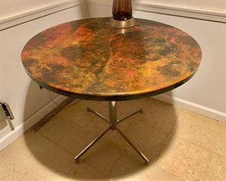 "$600 Mid-Century Modern pedestal table.  36"" diam, 30"" H."