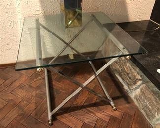Mid Century Modern chrome & glass end table