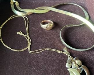 10K Ring and Gold Plated Necklaces