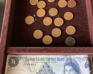 23 Wheat Pennies and Cayman IS dollar