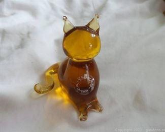 Murano Art Glass Cat Figurine Signed