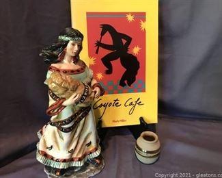 Southwest Native American Figurine Coyote Cafe Cookbook Handmade Pottery