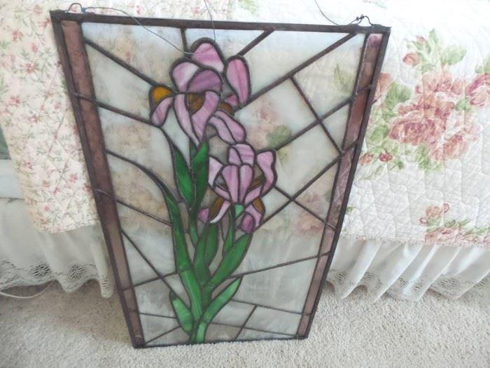 Stain Glass Leaded Window Irises