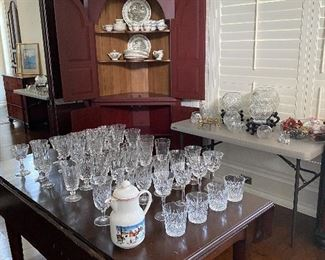 ANTIQUE DROP LEAF DINING TABLE\/ JOHNSON BROS. CHRISTMAS CHINA IN CORNER  CABINET /ASSORTED GLASSWARE