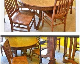 $120 Vintage Tiger Oak Pedestal table $50each Tiger Oak Straight back chair (5)