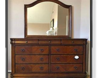 """$300 Ashley Home Sheridan Dresser + Mirror  Dresser: 68.25""""wide x 37""""tall x 19""""deep Mirror: 48.25""""wide x 49.75tall"""