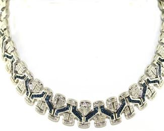 Custom diamond and sapphire necklace with retail of $75,000,  Opening bid is 1000