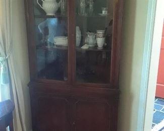 Corner china cabinet, mahogany, 1940s