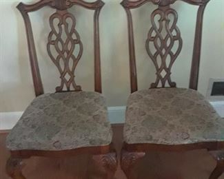 Two of six Chinese Chippendale chairs