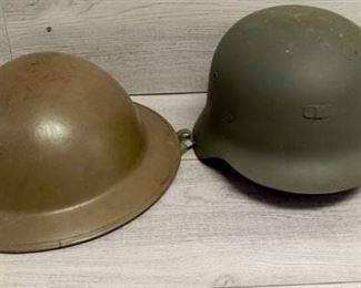 2 Metal War Helmets