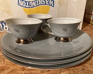 Gorgeous Gray and Silver China Set