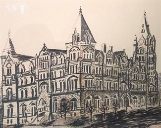 Charcoal drawing of old city hall Richmond in Antique walnut frame