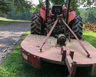 """Tractor: Massey Ferguson 240 (~1995) with front-end loader, 2WD, 1,000 hours.  Well maintained, no rust, always stored inside.  $10,500.  Hardee Bushhog, 96"""" cutting width.  3 point connection and drivetrain recently rebuilt.  $650.  Scrape blade, three point connection: $100"""