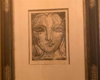 Pablo Picasso 1881-1973 Spanish Artist Metal Etching of His Girlfriend #38 of 50