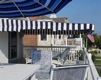 2 years new blue & white stripe awning