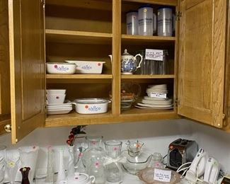Vintage Corning Ware Blue Cornflower, Pink Depression Glass, Vintage Glass Chip and Dip Set and Vintage Anchor Hocking Milk Glass bowl
