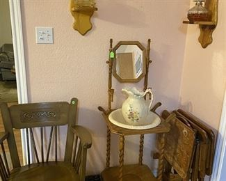 Wash Basin, Pitcher and Stand, Hurricane Lamps and TV Trays