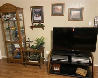 Samsung TV and stand, DVD Player, VCR/ DVD Combo Player, Glass Curio Cabinet
