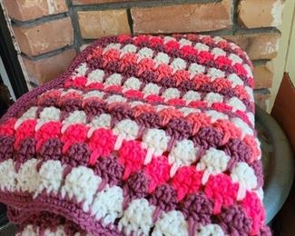 Lots of knitted blankets and throws!