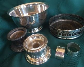 Silver plated hollowware & Sterling napkin rings