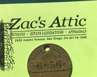 Antique brass Railroad luggage tag