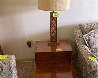 Mid century end tables and lamp
