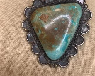 """largest pendant -22"""" long silver beaded necklace with 5 large greenish turquoise pendants with the largest being 1.5"""" by 1.75""""  and the smallest being 1"""" by 1 1/8"""". $500"""