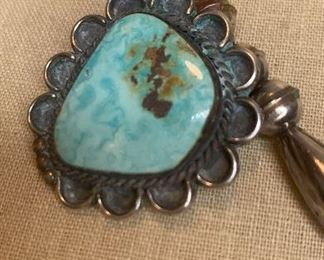 """22"""" long silver beaded necklace with 5 large greenish turquoise pendants with the largest being 1.5"""" by 1.75""""  and the smallest being 1"""" by 1 1/8"""". $500"""