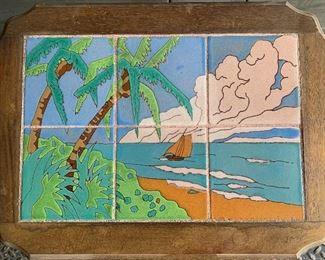 1930's Scenic Tile Top Table by Taylor Tile, California