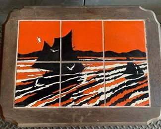 Rare old California pottery tile top table. Made by Taylor, Pacific or Catalina.
