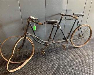 """Very Rare Columbia """"Steer from the Rear"""" tandem bicycle. Original un-restored condition with wood rims and original tubes."""