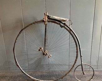 Late 19th Century High Wheel Bicycle in original unrestored condition. over 95% of tire still attached!!