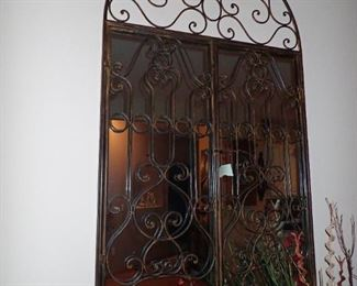 LARGE METAL ARCHED MIRROR WITH DOORS
