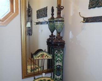 TALL MIRROR - TALL STAND STAINED GLASS LIGHTED - ACCENT SIDE CHAIR - PITCHER