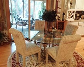 GLASS TABLE WITH IRON BASE & 4 CHAIRS