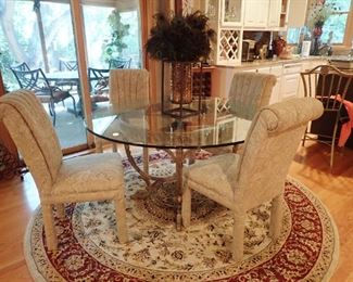 GLASS TABLE WITH IRON BASE & 4 CHAIRS - ROUND RUG