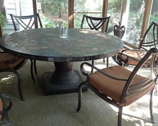 LARGE COSTCO SLATE TOP TABLE AND 6 CHAIRS