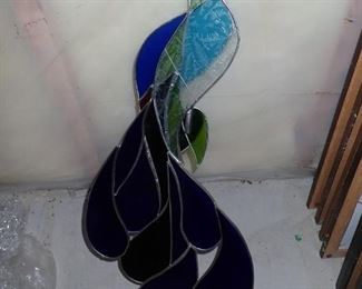 HANGING STAINED GLASS PEACOCK