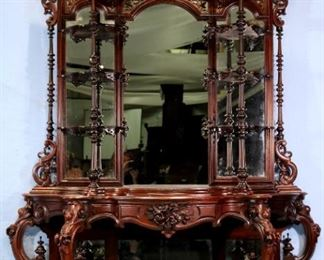 051a - Rosewood rococo etagere with all original finials and crown, ca. 1855, attrib. to T. Brooks, NY, 8 ft. 6 in. T, 71 in. W, 19 in. D.