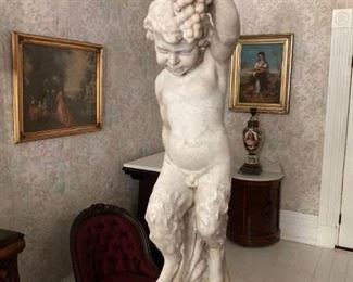 025b - 19th Century white marble statue of a fawn, beautifully carved  in great condition, 36 in. T.