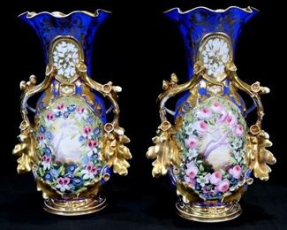 036a - Pair of 19th Century royal blue porcelain old Paris vases mantle vases with gold decoration and roses, 17 in. T, 8 in. W.