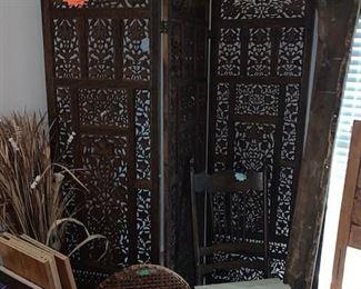 Moroccan 4 panel wooden screen Antique