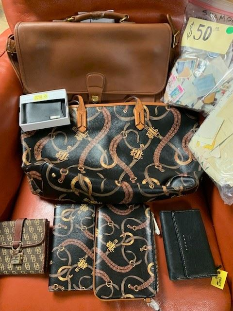 Vintage Couch Briefcase with all Authenticity  never been used Ralph Lauren, Dooney and Bourke, CalvinKlein, Fossil, Guess,  Designer Clothes                     And a GREAT STAMP COLLECTION