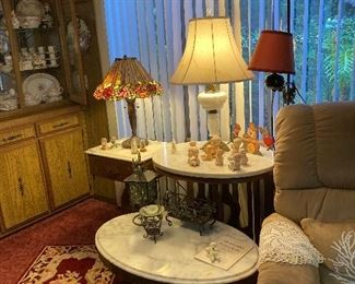"""3 CONTEMPORARY """"VICTORIAN"""" MARBLE TOP TABLES,"""