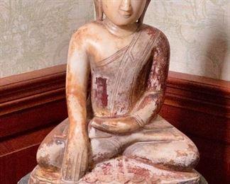 Burmese Sitting Buddha Figure  Cir.16th - 17th C