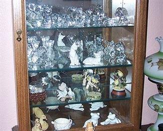 Table top display cabinet, glass animal figures