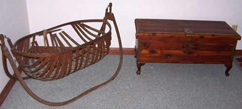 Bentwood cradle (needs help) and cedar chest