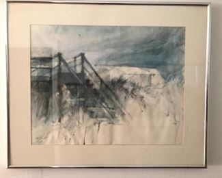 """Artist Alex Powers Original Watercolor.  Image 23"""" x 18""""  Framed and Matted: 30 3/4"""" x 25 1/4"""""""
